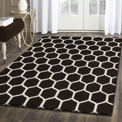 Dewar Hand-Tufted Black/White Wool Area Rug