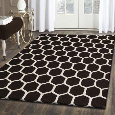 Dewar Hand-Tufted Black/White Wool Area Rug