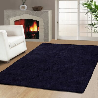 Veronica Hand-Woven Navy Blue Area Rug Rug Size: 5 x 8