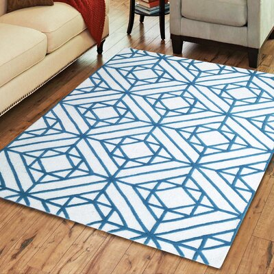 Brailey Blue & White Geometric Wool Hand-Tufted Area Rug