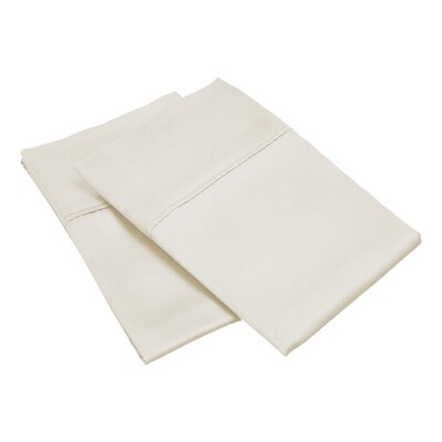 300 Thread Count Solid Pillowcase Size: King, Color: Ivory
