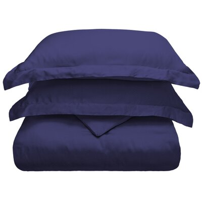 3 Piece Duvet Cover Set Color: Navy Blue, Size: King/California King