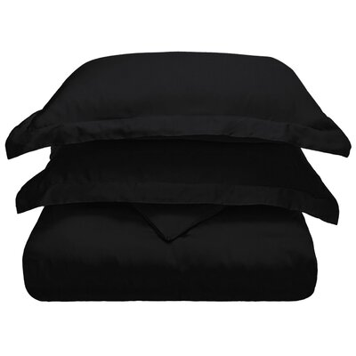 3 Piece Duvet Cover Set Color: Black, Size: King/California King