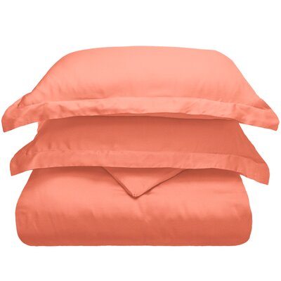 3 Piece Duvet Cover Set Color: Coral, Size: King/California King