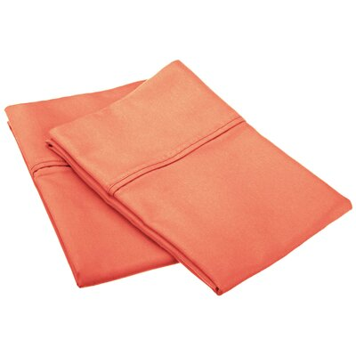 Emerson Cotton Rich 800 Thread Count Solid Pillowcase Size: King, Color: Coral