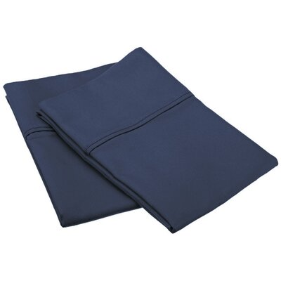 Cotton Rich 800 Thread Count Solid Pillowcase Size: King, Color: Navy Blue