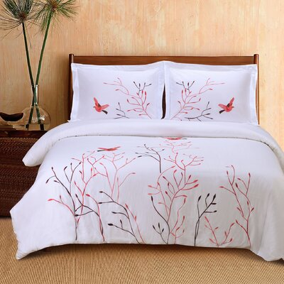 Swallow 3 Piece Embroidered Reversible Duvet Set Size: King / California King, Color: Red