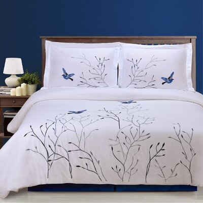 Swallow 3 Piece Embroidered Reversible Duvet Set