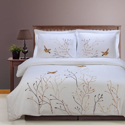 Swallow 3 Piece Embroidered Reversible Duvet Set Size: Full / Queen, Color: Brown