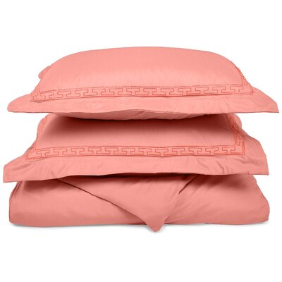 Garrick Embroidered Reversible Duvet Soft Set Size: King / California King, Color: Blossom