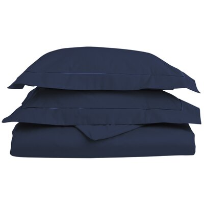 Patric Egyptian-Quality Cotton 3 Piece Reversible Duvet Set Size: Full / Queen, Color: Navy Blue/Navy Blue