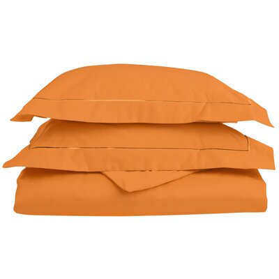 Patric Egyptian-Quality Cotton 3 Piece Reversible Duvet Set Size: Full / Queen, Color: Pumpkin/Pumpkin