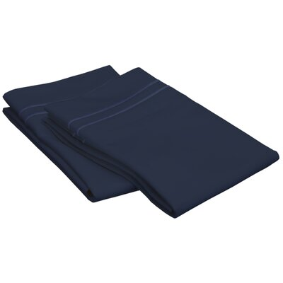 Patric 800 Thread Count Solid Pillowcase Size: King, Color: Navy Blue/ Navy Blue