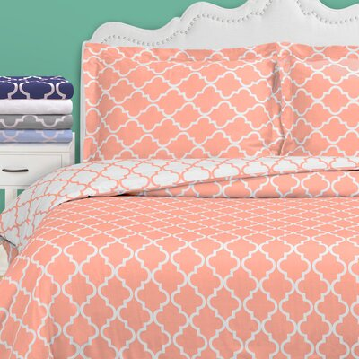 Lola Reversible Duvet Cover Set Color: Coral, Size: Twin