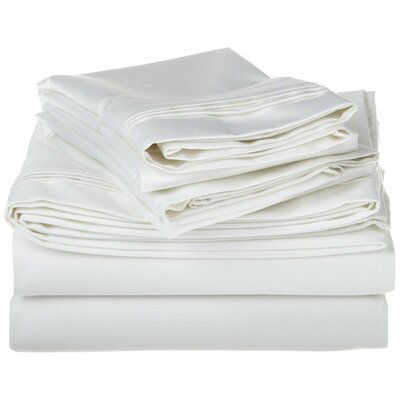 Tipton 1500 Thread Count 100% Egyptian-Quality Cotton Sheet Set Color: White, Size: Queen