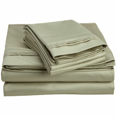 Patric 1500 Thread Count 100% Egyptian-Quality Cotton Sheet Set Color: Sage, Size: King
