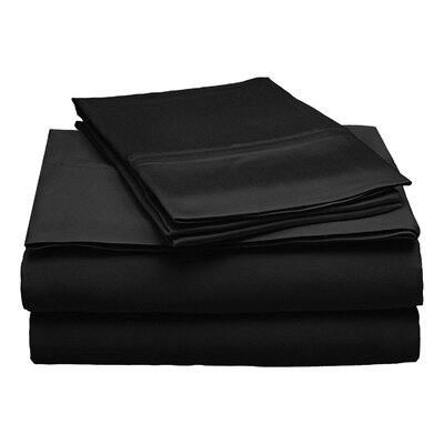 300 Thread Count Modal Solid Sheet Set Size: Full, Color: Black