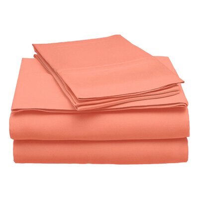 300 Thread Count Modal Solid Sheet Set Color: Coral, Size: King