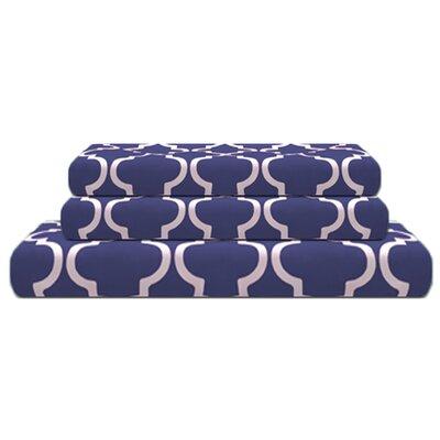 Lola Reversible Duvet Cover Set Color: Navy Blue, Size: King/California King