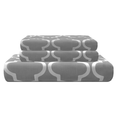 Lola Reversible Duvet Cover Set Size: King/California King, Color: Gray