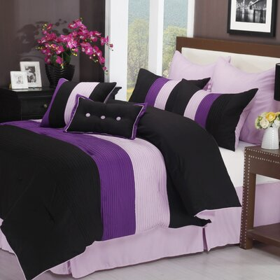 Stockbridge 8 Piece Reversible Comforter Set Color: Purple, Size: Queen
