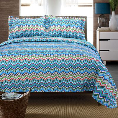 Zig Zag Reversible Quilt Set Color: Blue, Size: King