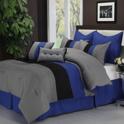 Stockbridge 8 Piece Reversible Comforter Set Color: Blue, Size: Queen