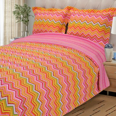 Zig Zag Reversible Quilt Set Color: Orange, Size: King