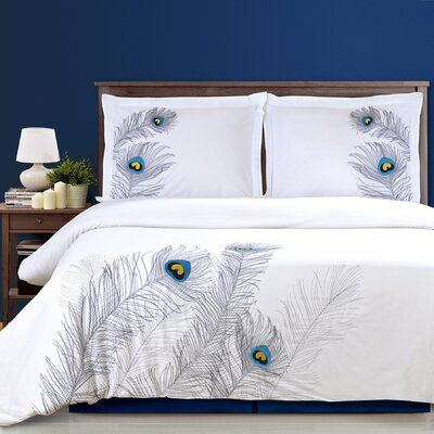 Peacock 3 Piece Embroidered Reversible Duvet Set Size: King/California King, Color: Silver