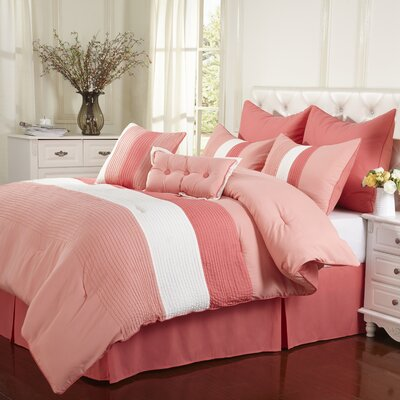 Florence 8 Piece Reversible Comforter Set Size: California King, Color: Coral