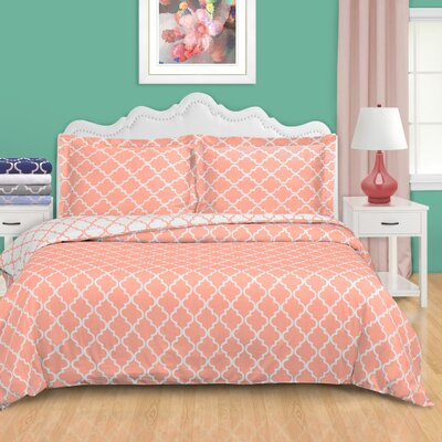 Lola Reversible Duvet Cover Set Size: King/California King, Color: Coral