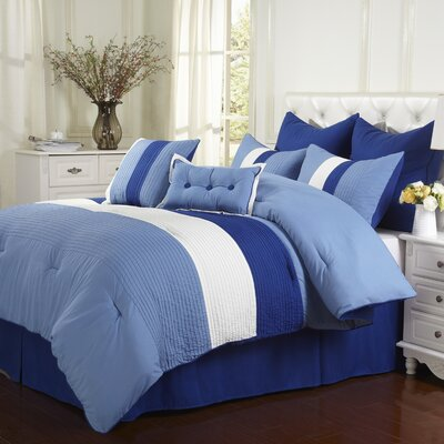 Florence 8 Piece Reversible Comforter Set Color: Sky Blue, Size: Queen