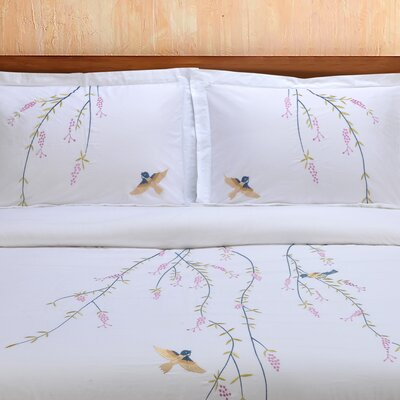 Impressions 3 Piece Embroidered Reversible Duvet Cover Set Size: Full/Queen