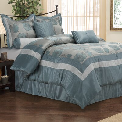 Aloha 7 Piece Reversible Comforter Set Size: Queen