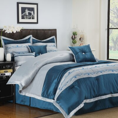 Carrington 7 Piece Reversible Comforter Set Size: King