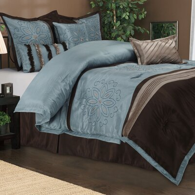 Carleton 7 Piece Embroidered Reversible Comforter Set Size: Full