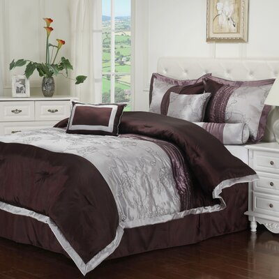 Kashmir 7 Piece Embroidered Reversible Comforter Set Size: Full