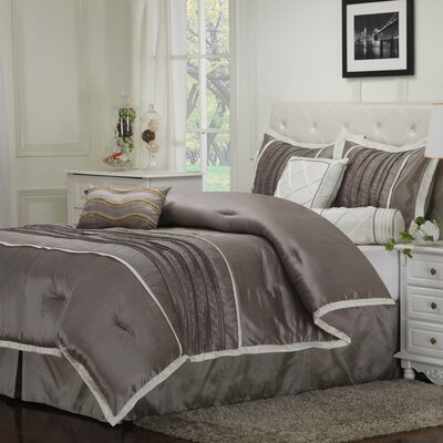 Blakely 7 Piece Embroidered Reversible Comforter Set Size: King