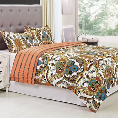 Sudden 3 Piece Reversible Duvet Cover Set Size: King/California King