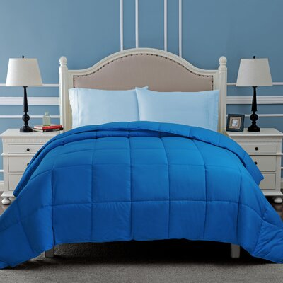 All Season Microfiber Down Alternative Comforter Color: Aster Blue, Size: Full / Queen