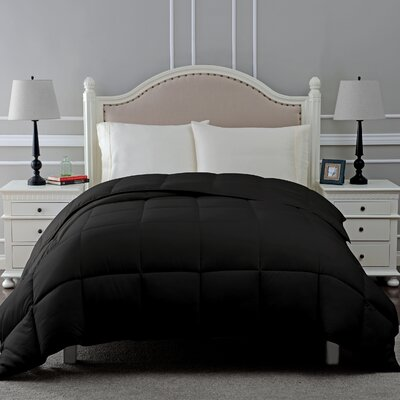 All Season Microfiber Down Alternative Comforter Color: Black, Size: Full / Queen