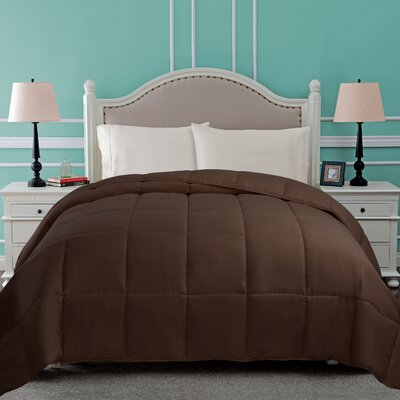 All Season Microfiber Down Alternative Comforter Color: Chocolate, Size: King
