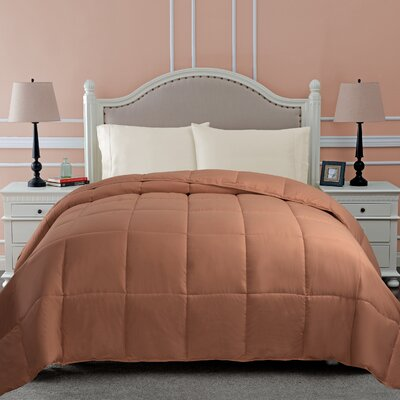 All Season Microfiber Down Alternative Comforter Color: Camel, Size: Full / Queen