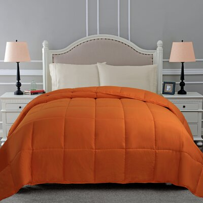 All Season Down Alternative Comforter Color: Dusty Orange, Size: Full / Queen