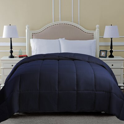 All Season Microfiber Down Alternative Comforter Color: Navy Blue, Size: Full / Queen