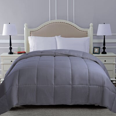All Season Microfiber Down Alternative Comforter Color: Silver, Size: Twin