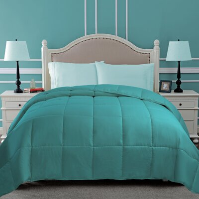 All Season Down Alternative Comforter Color: Turquoise, Size: Full / Queen