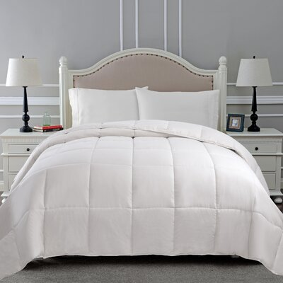 All Season Microfiber Down Alternative Comforter Color: White, Size: Full / Queen