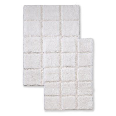 Cotton Checkers 2 Piece Bath Rug Set Color: White