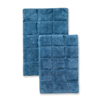 Cotton Checkers 2 Piece Bath Rug Set Color: Sapphire